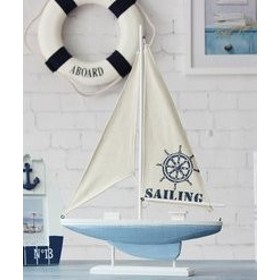 置物 ヨット マリン風 木製 ライトブルー 生成り (大サイズ)