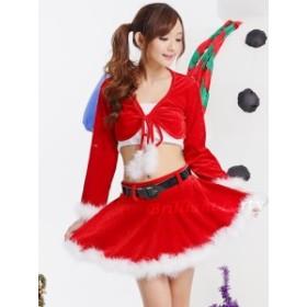 サンタ コス サンタクロース 定番 コスプレ コスチューム ミニスカサンタ クリスマス セクシー sexy サンタ服 衣装 セットアップ 赤C