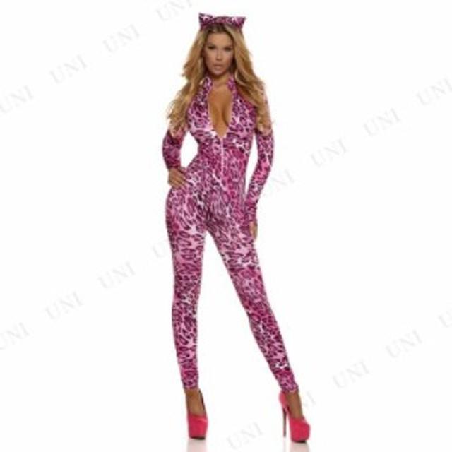 !! ピンクレオパードスーツ S/M 仮装 衣装 コスプレ ハロウィン 余興 大人用 コスチューム 女性 アニマル 動物 ヒョウ 女性用 レディース