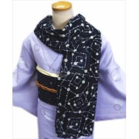 「和心」和柄ガーゼマフラー(がーぜまふらー)黒地梅枝(花粉リリース加工) 着物&洋装に