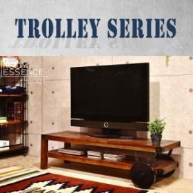 送料無料 天然杢天板とレトロ調アイアンの組み合わせヴィンテージ風トローリーローボード テーブル テレビ台 ローテーブル