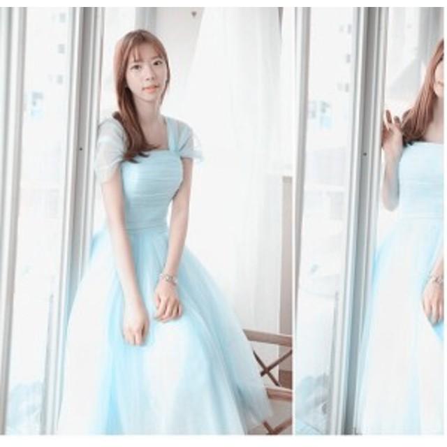 85907fb6631ee 可愛い ドレス二次会 ロングウェディングドレス パーティードレス 花嫁 ...