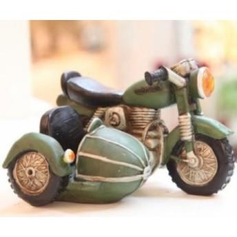 スマホスタンド 名刺スタンド ビンテージ風 バイク (グリーン)