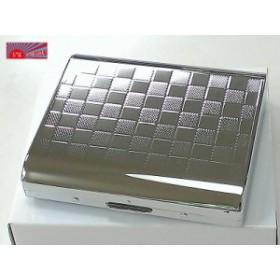 【PEARL】シガレットケース カジュアルメタル チェック模様 シルバー 人気 シガレットケース シンプル 売れ筋 おすすめ 煙草入れ