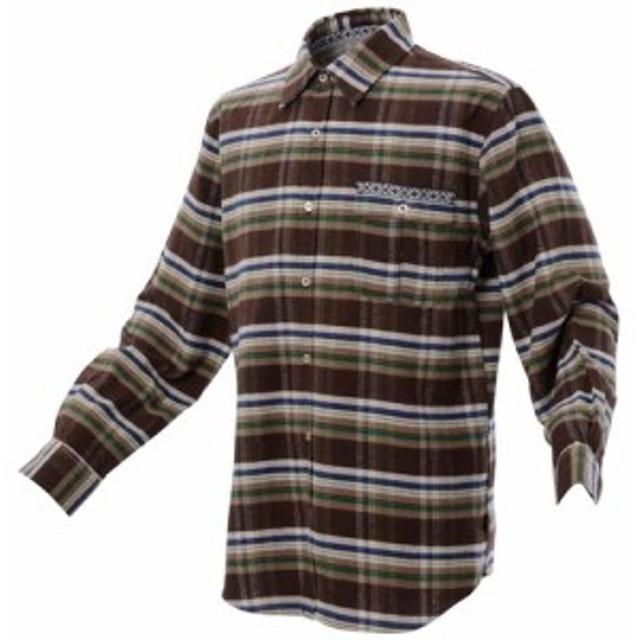 アルパインデザイン トレッキング アウトドア 長袖シャツ 長袖ボーダーシャツ ADF13-68-022 BRN メンズ BROWN