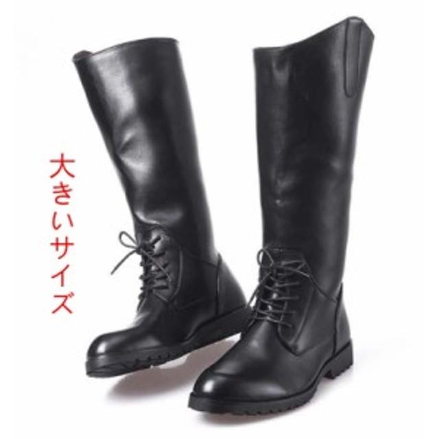 d427573ffc03 イギリス風/レザー/長靴/PU/メンズシューズ/乗馬ブーツ/メタル/ロング ...