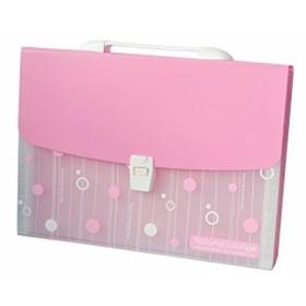 ファイルケース バッグ型 クリア ドット A4 仕切り付き (ピンク)