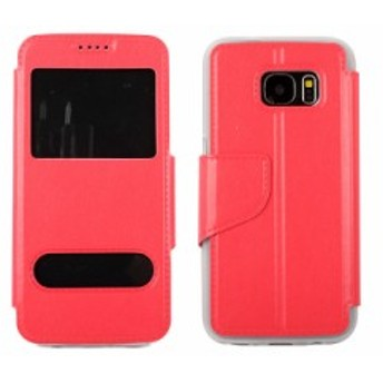 Samsung Galaxy S7 便利窓×2付 レザー製 合成革 保護ケース カバー#レッド 送料込