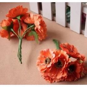 造花 花束 ミニサイズ 花6個×10束セット (オレンジ)