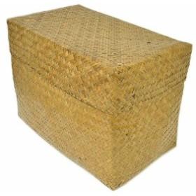 カチュー水草の蓋付きボックス 収納箱 長方形 ナチュラル Lサイズ [横幅約40cm] 収納 ボックス アジアン雑貨 バリ雑貨 タイ雑貨