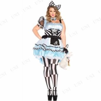 !! サイケデリックアリス 1X-2X 仮装 衣装 コスプレ ハロウィン 余興 大人用 コスチューム 女性 大きいサイズ 不思議の国のアリス グッズ