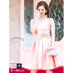 ドレス パーティードレス ワンピース S SM M ビジューブローチ リボン付ベアAライン ミニドレス carinocaro ピンク 黒 シンプル パステル