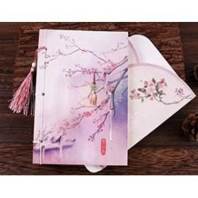 ノート 水彩画風イラスト ふさ付き 紐とじ A5 (桃の木)