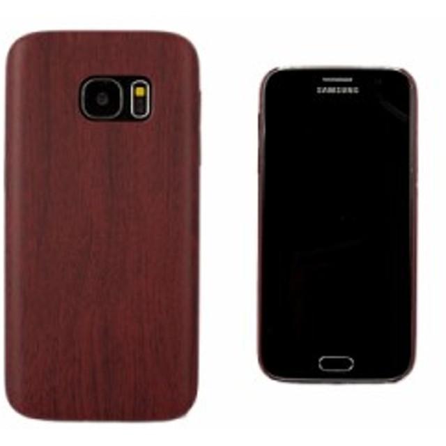 Samsung Galaxy S7 用 木目調 ウッド紋 保護防塵 TPU製 ソフトケース#レッド【新品/送料込み】