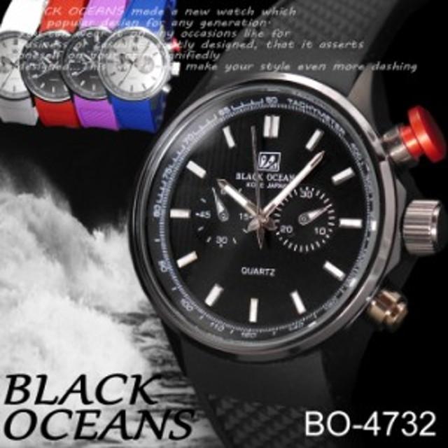 7ab0402e5a (ケース付き&送料無料)-BLACK OCEAN- 腕時計 ラバーバンド デザインクロノ