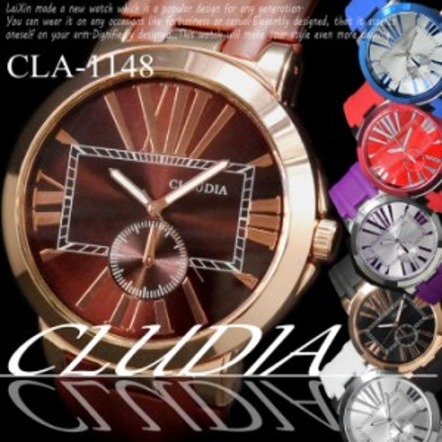 d6634cf42c (ケース付き&送料無料)CALUDIA - 腕時計 シャイニーフェイス&ラバー デザインクロノ