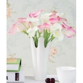 造花 オランダカイウ カラー 16本 (ピンク ホワイト)