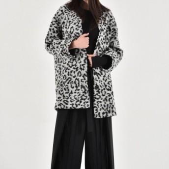 レオパード柄 ストレート コート ブラック×ホワイト【Aakasha アーカシャ】【サイズのカスタムオーダーメイド可】
