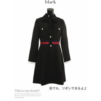 【Tika ティカ】バイカラーボウタイ付きレトロミニドレスパーティードレスお呼ばれワンピース[S/M/L][黒]
