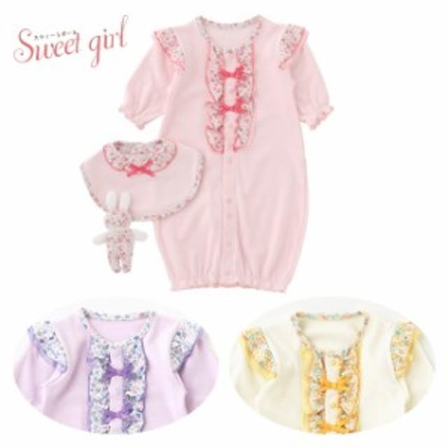 dda2516c6ab2f ベビー服 赤ちゃん 服 ベビー ツーウェイオール 女の子 出産祝い 出産準備 スウィートガール 小花柄新生児