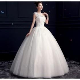 プリンセス ウェディングドレス フォーマル ブライズメイドドレス/パーティー結婚式二次会卒業式 花嫁の介添え 編み上げ シングル