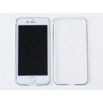 Apple iPhone 7 iPhone 8用 バンパー+アクリル透明背面シールド 保護ケース#ゴールド