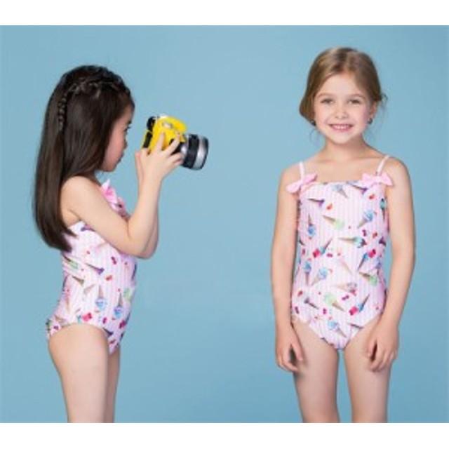 8d647ba2b3d88 水着 女の子 ビキニ ワンピース水着 アイス柄 セパレート 速乾 水着 オールインワン水着 子供 こども 女児