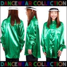 ダンス 衣装 パーティ イベント Step by Teens Ever サテンシャツ シャツ/130/140/150:グリーン 3839074-gre