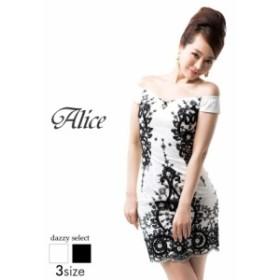 ドレス キャバドレス ワンピース  大きいサイズ Alice S M L 幾何学模様総レースオフショルタイト ミニドレス 白 黒 幾何学模様 幾何学柄