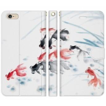 [iPhone 6 Plus / iPhone 6s Plus 手帳型 スマホケース カバー] 和柄 水墨画 :G