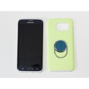 Samsung Galaxy S7 edge SC-02H SCV33 マグネット リング形スタンド付 ロゴフリー 保護ケース#グリーン【新品/送料込み】