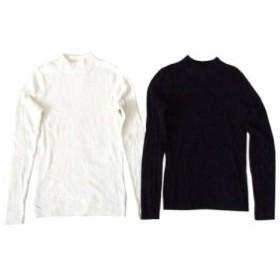 美品 BLISS POINT ブリスポイント サーマルニットセーター 2枚セット (黒 白) 102193【中古】