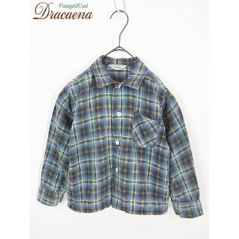 子供 キッズ 古着 Wash'n Wear 60s オンブレーチェック柄 100%コットン ネル地 シャツ ブルー・グリーン系 100cm位 3・4歳位 17kmr10h