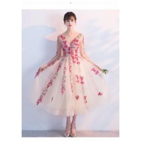 パーティードレス 結婚式 ドレス 袖あり ウェディングドレス ミモレ丈ドレス 二次会 花嫁 パーティドレス 披露宴 お呼ばれドレス 卒業式