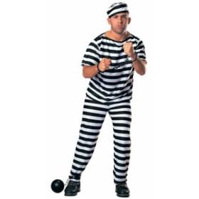 囚人コスチューム 男性用 帽子/服/ズボンの3点セット