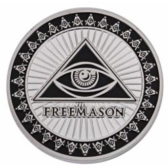 秘密結社 フリーメイソン コイン Freemasonry 保存用 記念 シルバー 黒ctr-d38【1~2日発送】