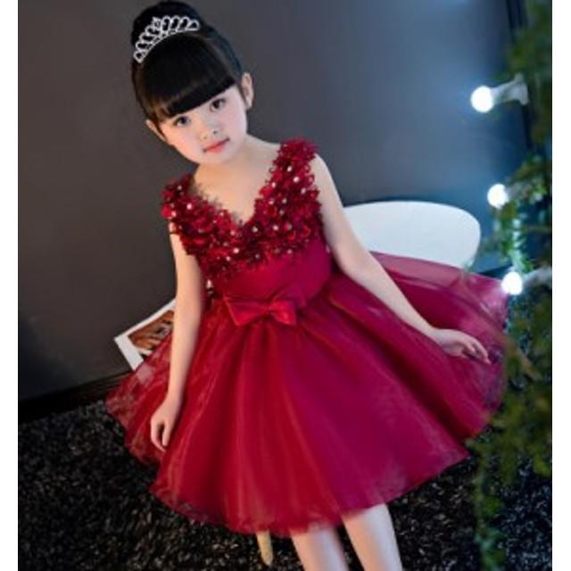 81c5b32b93334 90-160CM 女の子 子供ドレス キッズドレス ワンピース ミニ丈 フォーマル ジュニア ピアノ