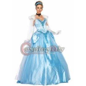 高品質 高級コスプレ衣装 ディズニー シンデレラ 風 ドレス dress オーダーメイド Costume Blue Princess Cinderella Dress Ver.3