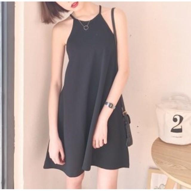 ふんわり女子 ガーリー 可愛い シンプル ホルターネック ショート丈 ミニ フレア ワンピース シンプル サック ドレス