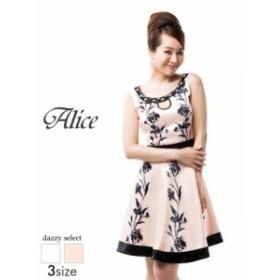 ドレス キャバドレス ワンピース  大きいサイズ Alice S M L 谷間ホール花柄ノースリAライン ミニドレス 白 ピンク フレア ミニドレス 花