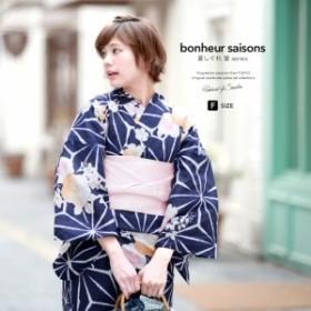 bonheur saisons ボヌールセゾン 浴衣3点セット 麻の葉 桜 桔梗 椿