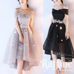 パーティードレス 韓国 ワンピース 二次会 結婚式 お呼ばれ ドレス   二次会 花柄 刺繍 ウエストマーク