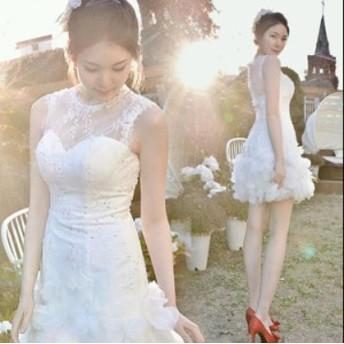 ショット ドレス パーティードレス 結婚式 ワンピース Aライン ベアトップ ロング 安い 花嫁 ウェディング ミニドレス