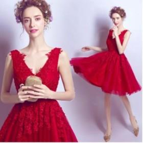 ショット ドレス パーティードレス 結婚式 ワンピース Aライン ベアトップ ロング 安い 花嫁 ウェディング ミニドレス 編み上げ
