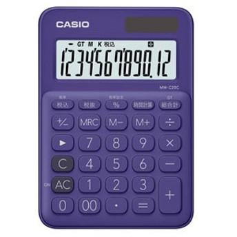 カシオ MW-C20C-PL 電卓 12桁 (パープル)CASIO カラフル電卓 ミニジャストタイプ[MWC20CPLN]【返品種別A】
