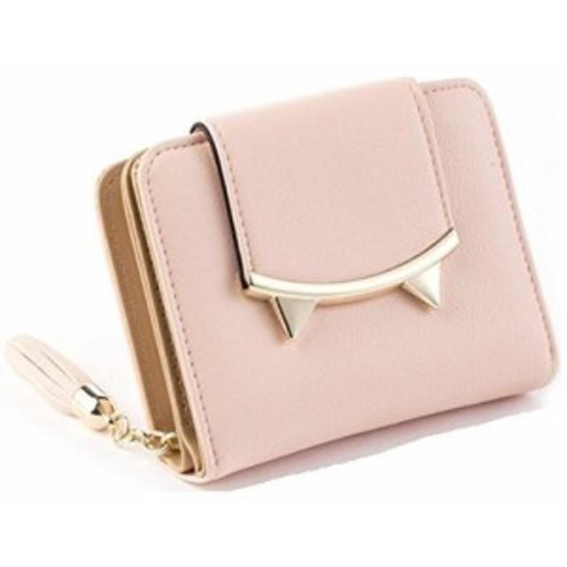 faf9efc8409a 財布 二つ折り 小さな猫耳 コンパクト フリンジ付き (ピンク) 通販 LINE ...
