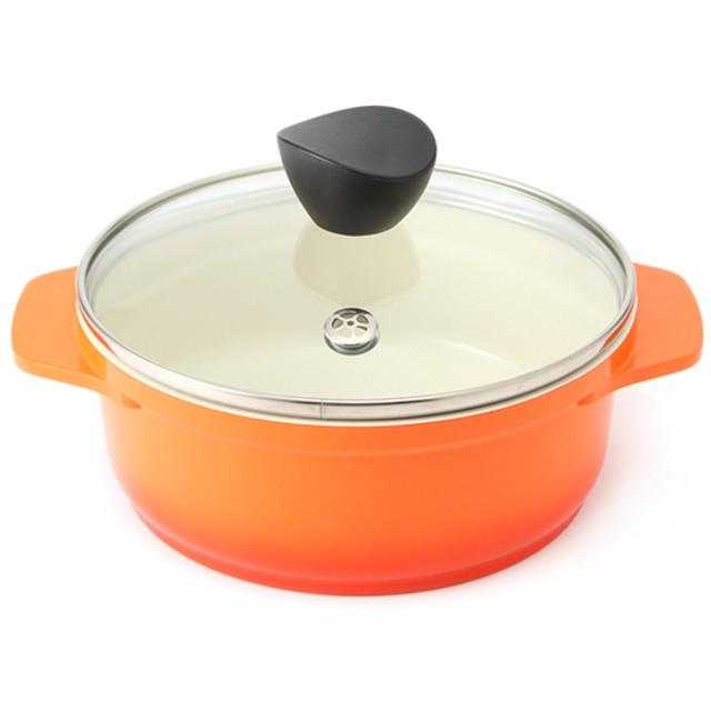 HOME COORDY 電子レンジも使えるセラミックコート鍋 オレンジ 16cm ホームコーディ 16cm 片手鍋・両手鍋