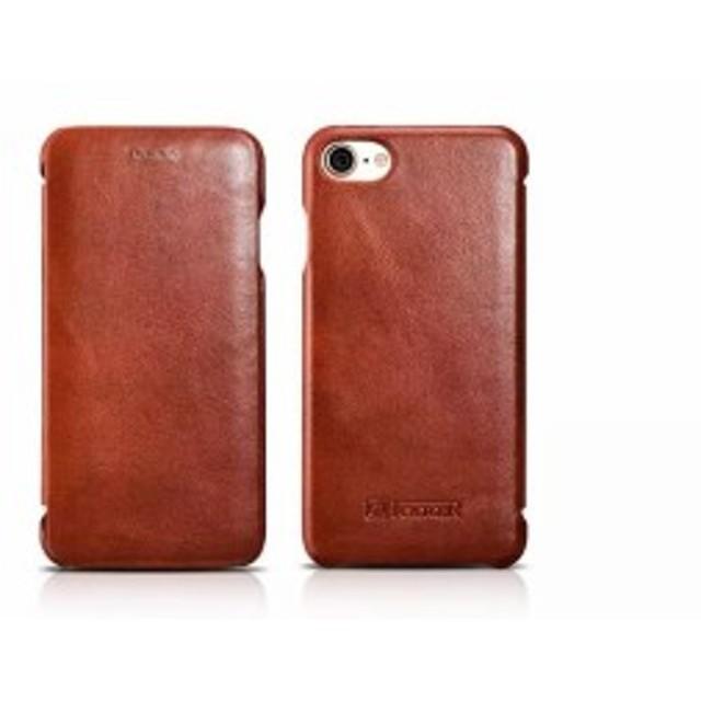 7e36e1138c 送料無料 iCARER iPhone 7&8用 本革 手帳型 曲線 エッジ ビンテージ レザー フリップ ケース