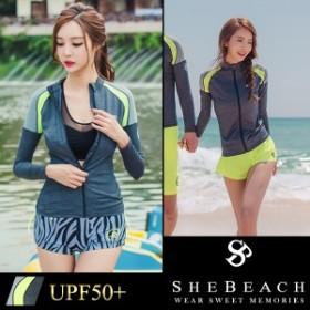 水着 レディース ラッシュガード 長袖 単品 韓国 ファッション SHEBEACH シービーチ 正規品 体型カバー トップス かわいい 紫外線対策