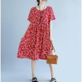 秋新作 大きいサイズ レディース ファッション フリーサイズ 人気 ワンピース 花柄 ゆったり 【予約】 bcmo-26535TS
